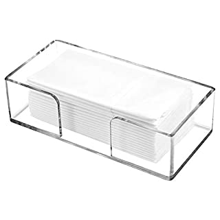 Feoyoho Acrylic Napkin and Towel Holder - Napkin Dispenser Acrylic Guest Paper Decorative Cocktail Napkin Tray Flat Holders Clear for Dining Table Room Bathroom and Kitchen (10.15 x 4.85 x 2.75inch)