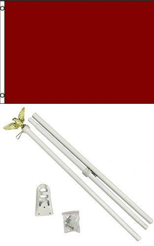 Flag 3x5 Advertising Solid Burgundy White Pole Kit Set 3'x5'