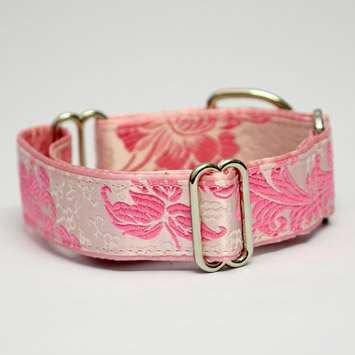 Glorious Pink 1 1/2 Inch Martingale Collar – High Quality Satin Brocade Design (Medium – Medium Large), My Pet Supplies
