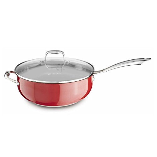 KitchenAid KCS60CFER Stainless Steel 6.0-Quart Chef's Pan with Lid Cookware - Empire Red by KitchenAid