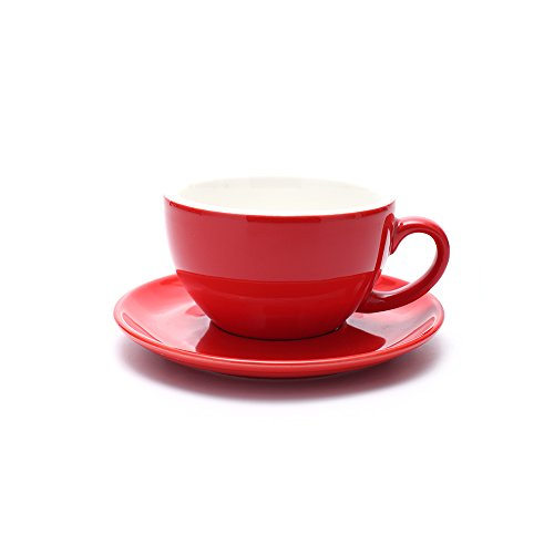 Coffeezone Double Espresso Coffee Cup and Saucer, Small Cappuccino and Speciality Coffee, New Bone China for Coffee Shop and Barista (Glossy Red, 5 ()