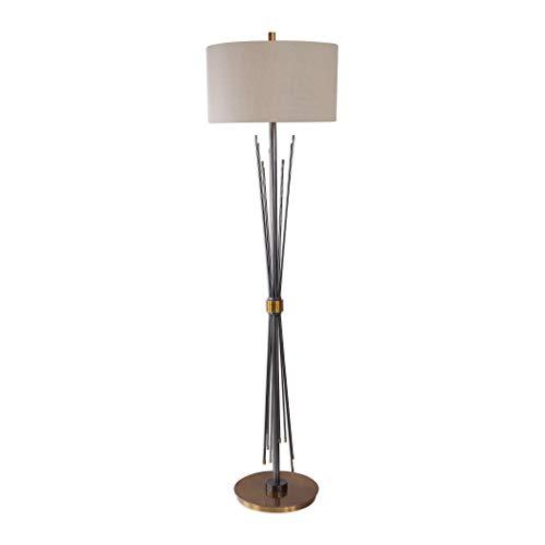(My Swanky Home Modern Black Gold Metal Spears Floor Lamp | Rods Industrial Sculpture Spike)