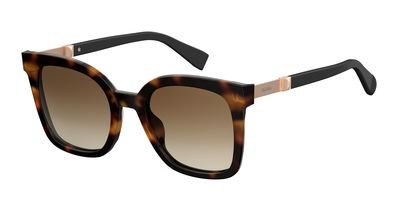 Max Mara Plastic Rectangular Sunglasses 51 0581 Havana Black HA brown gradient - Mens Max Mara