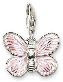 Cameleon-Shop - Charm Plaqué Argent Papillon Rose