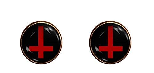 Chaoticfashion Upside Down Cross Earrings Handmade Satan Jewelry Gift Pendant Charm - Handmade Cross Earrings
