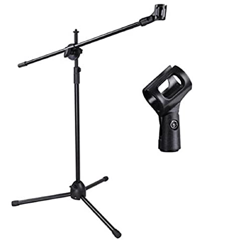 New Microphone Stand Mic Clip 360-degree Stage Studio Holder Tripod Telescoping