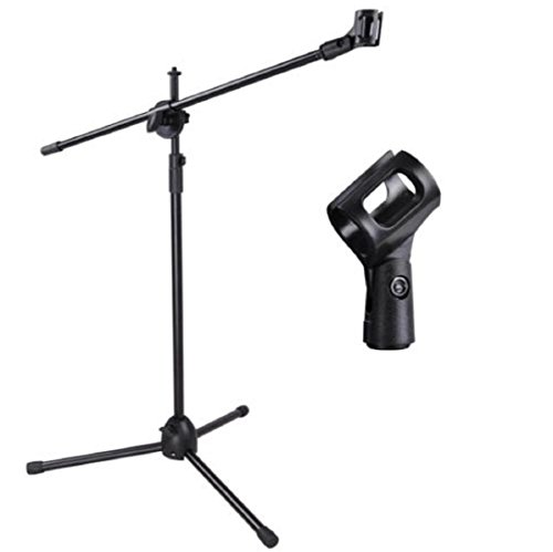 New Microphone Stand Mic Clip 360-degree Stage Studio Holder Tripod