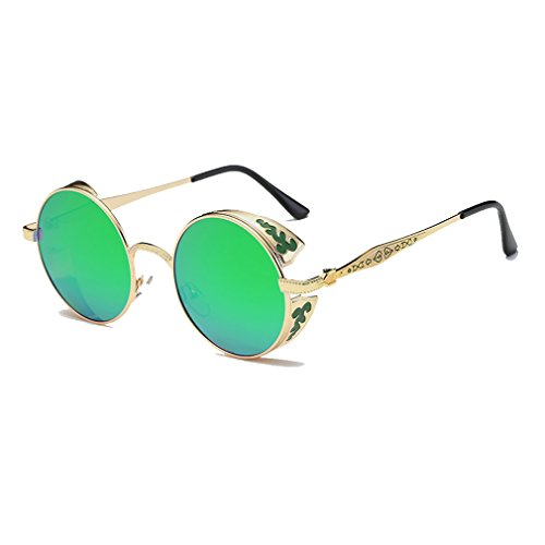 LOMOL Retro Trendy Cool Steampunk Flip Lens UV Protection Polarized Round Sunglasses For - What Eyeglass Frames My Face Fit