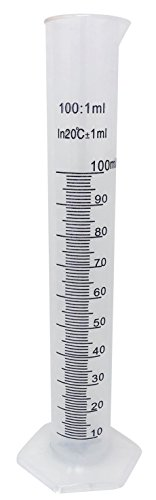 100ml Plastic Graduated Cylinder Beaker - 100ml Science Measuring Test Tube Flask, 2-sided Marking - Black and Raised Graduation Lines, Pour Spout