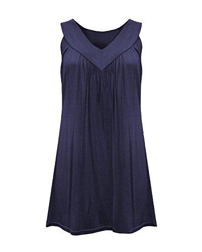 T V Manches Lache Classique Mousseline Blouse Chemise sans Hauts Shirts Tops Bleu Femme Col Saphir Uq5qwB
