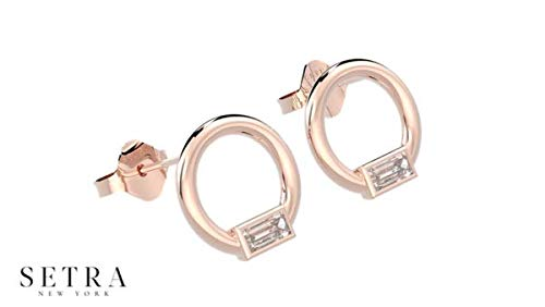 SETRA Minimal 18k Gold Circle and Diamond Baguette Stud Earrings (0.30 cttw, Color G, Clarity SI1)