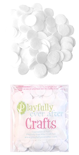 Flower Adhesive Felt - Playfully Ever After 1 Inch White 100pc Felt Circle Stickers