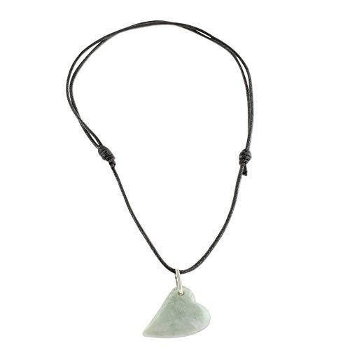 NOVICA Jade .925 Sterling Silver Heart Shaped Necklace, 12
