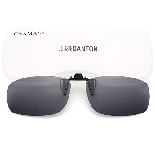 (CAXMAN Polarized Clip On Sunglasses Over Prescription Glasses for Men Women UV Protection Flip Up Grey Lens Small Size)