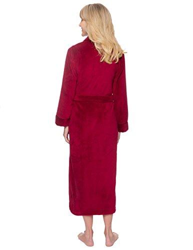 Noble Mount Bata de Felpa Coral Polar para Mujer Rojo