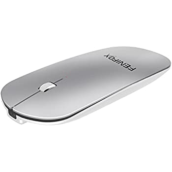 FENIFOX Bluetooth Mouse, Travel Portable Mini Wireless Mice Slim Mobile Optional Mice with USB Rechargeable Battery Ultra-thin for Mac,Laptop,Tablet,Macbook,Notebook,PC (Silver)