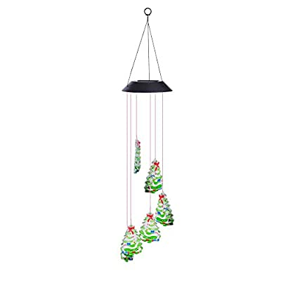Yescom Solar Powered LED Color Changing Christmas Tree Wind Chime Light Waterproof Home Garden Yard Outdoor Decor