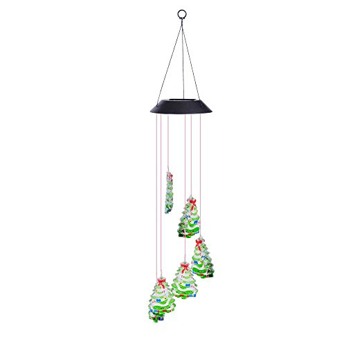- Yescom Solar Powered LED Color Changing Christmas Tree Wind Chime Light Waterproof Home Garden Yard Outdoor Decor