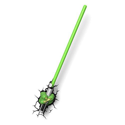 Star Wars Yoda Lichtschwert Wandlampe 3D Light FX LED Kinderlampe -Nachtlicht für kinder mit automatische Abschaltung und wandaufkleber