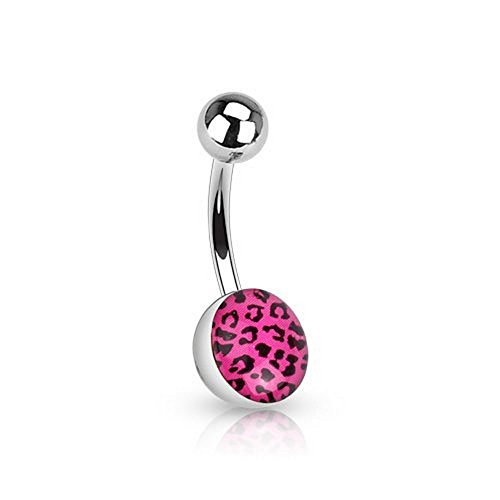 Fuchsia(Hot Pink - Surgical Steel Navel Ring w/ Leopard Skin Clear Epoxy Coated Ball