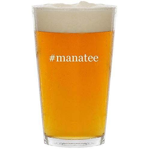 #manatee - Glass Hashtag 16oz Beer Pint