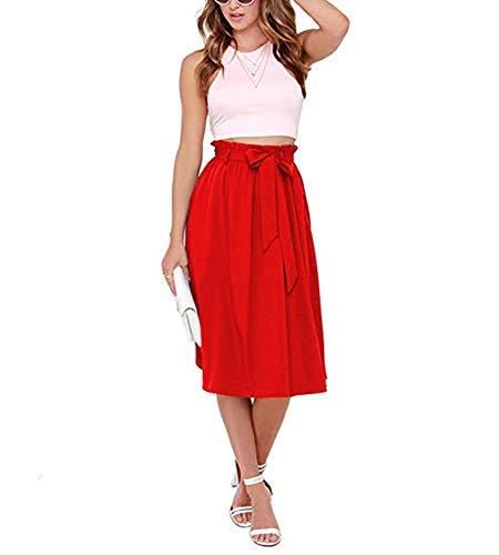 MINASAN Femme Taille Haute Jupe Plisse Rtro Mi Longue Chic du Genou A Ligne Midi Jupe Tournante avec Ceinture S-3XL Rouge