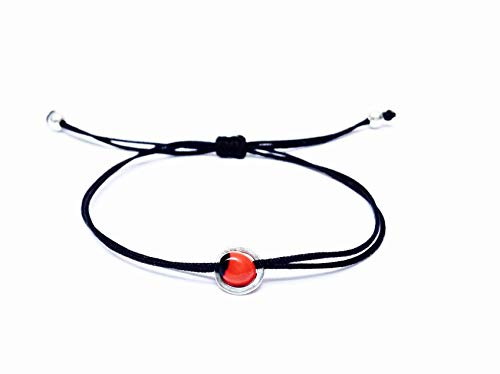 Black String Bracelet, Sterling Silver 925 Circular Band with Small Red and Black Huayruro Seed Charm, Peruvian 'Good Fortune' Adjustable Thread Cord, Friendship Bracelet, Handmade in - Huayruro Seed