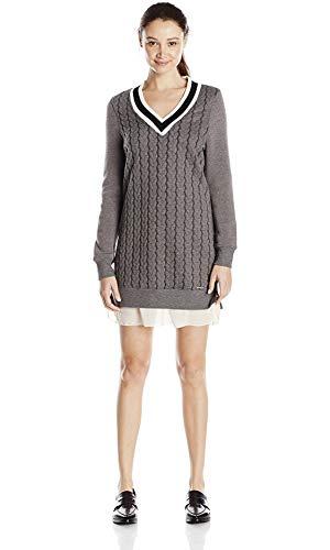 - U.S. Polo Assn. Juniors Cable Knit V-Neck Varsity Dress, Dark Heather Grey Combo, X-Small