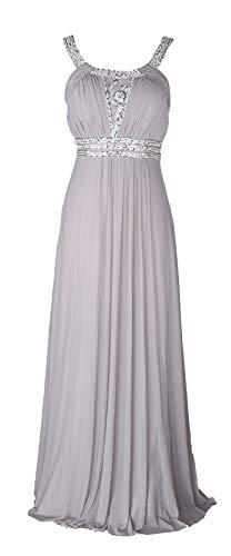 (Conail Coco Women Ruched Waist Rhinestone Casual Tulle Semi-Formal Long Wedding Bridesmaid Dress (M, 49Grey))