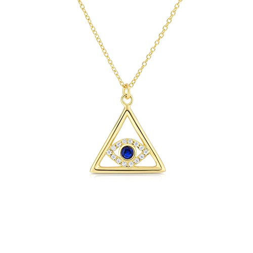 Cape Cod Jewelry Sterling Silver CZ and Created Sapphire Evil Eye Triangle Necklace with Adjustable Length. (14K Yellow Gold Plated)