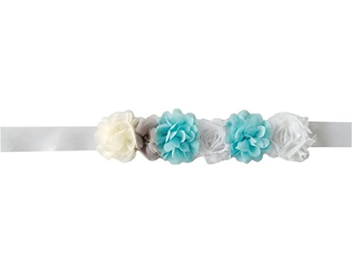 Maternity Satin Ribbon Belt with Flower for Photo Shoot, Floral Baby Shower/Bridal Sash/Wedding Belt, Flower Baby Girls Sash (Blue-White)