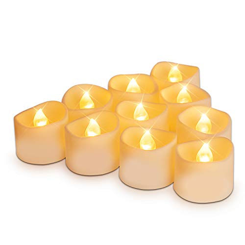 Homemory Set of 12 Battery Tea Lights with Timer, 6 Hours on and 18 Hours Off in 24 Hours Cycle Automatically, Flameless Flickering Battery Operated LED Tea Lights, Warm Yellow Light