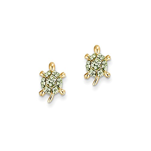 14k Yellow Gold Light Green Crystal Turtle Post Stud Earrings for Women 14k Yellow Gold Turtle