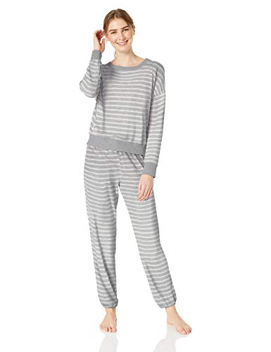 Spring Splendid - Splendid Women's Long Sleeve Sweater Top and Relaxed Jogger Pajama Set Pj, Grey with Glitter Star Spring, L