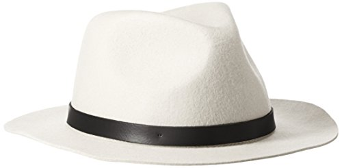 Phenix Cashmere Women's Short Brim Wool Felt Fedora Hat, White, One Size (Felt Fedora Hats)