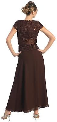 5XL, Gold May Queen MQ571 Short Sleeve Mother of The Bride EveningDress