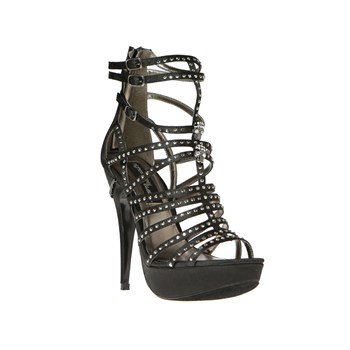 The Highest Heel SOPHIA-11 Rhinestone Strippy, Black Satin Genuine, Platform Sandle, 8 B(M) US -