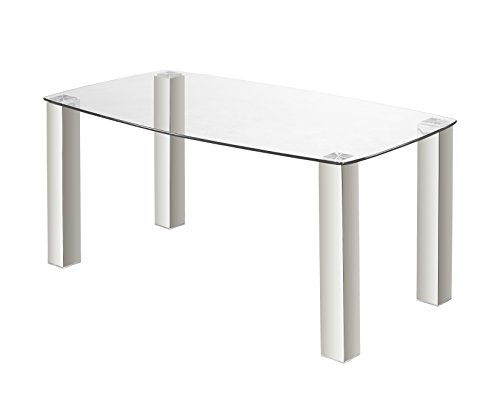 Uptown Club Jarvis Collection Modern Rectangle Stainless Steel Glass Top Dining Room Table, 63″ L x 39.3″ W x 29.5″ H Review
