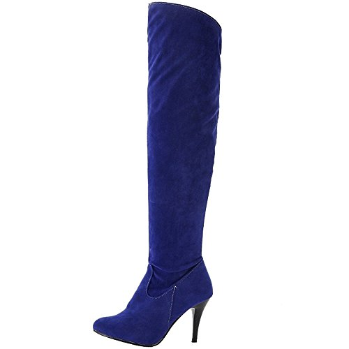 Plus with 7 Colorss Toe Matte SJJH and Boots Knee Pointed Thin Boots Heel Blue with and High Long Women waq7Bf