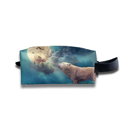 Small Toiletry Bag Moonlight Wolf,Pencil Case,Travel Essentials Bag,Dopp Kit Bag For Men And Women With Handle