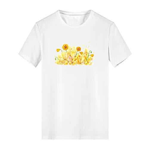 (Claystyle Camiseta de Manga Corta holgada para Mujer de Blusa Informal Tops Camisa con Cuello en v para Mujer White)