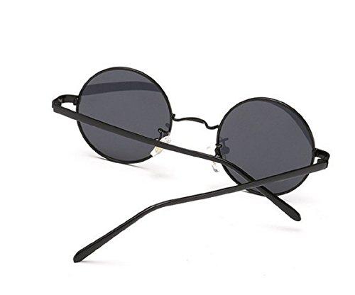Nero Hombres Redondas Gafas de Jhon Uv400 Unisex Polarizzati Nero M Lennon L sol z1gnWA1qEx