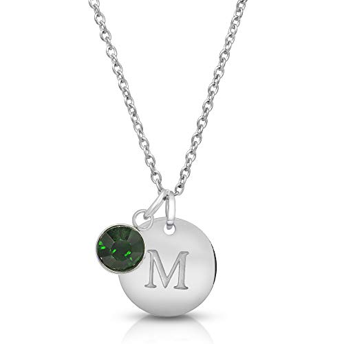 (Hapram Initial Necklace Letter M Personalized Custom Dainty Disc Sterling Silver with Zodiac Birthstone, 23.6