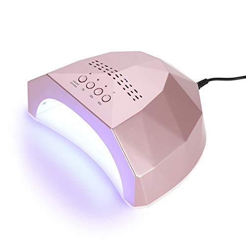 Filfeel 48W Nail Dryer Lamp, Nail Gel Polish Curing Manicure Machine Salon Drying Art Tool with 5s, 30s, 60s Time Setting Function(Rose Gold) ()