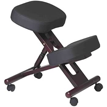 Office Star Ergonomically Designed Knee Chair with Casters, Memory Foam and Mahogany Finished Wood Base, Black