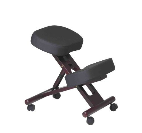 - Office Star Ergonomically Designed Knee Chair with Casters, Memory Foam and Mahogany Finished Wood Base, Black