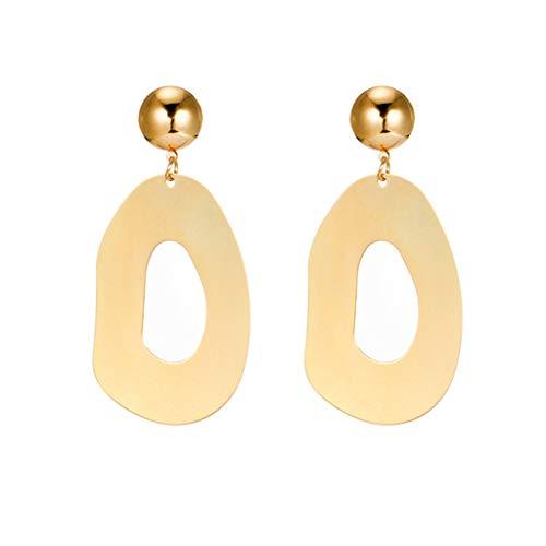Geometric Metal Dangle Earrings Big Oval Drop Earrings Stud Dangle Earrings for Women Teen Girls Ear Jewelry (gold) ()