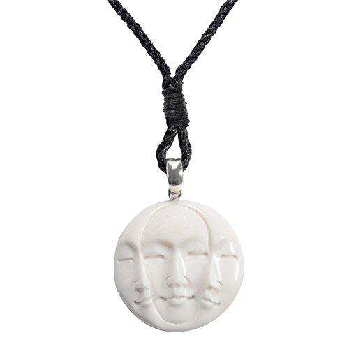 (81stgeneration Women's Men's Hand Carved Bone Three Face Triple Moon Eyes Shut Pendant Necklace)