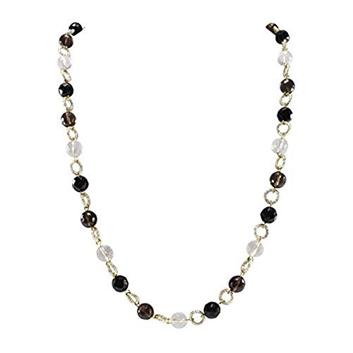 Pearlz Ocean White Crystal Smokey Quartz Black Agate Beads Claspless Mala Necklace for Women