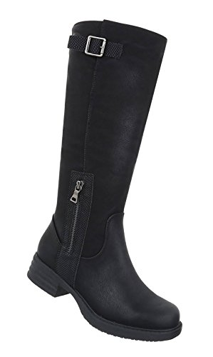 Stiefel Schwarz Optik Used Schuhe Damen pw1YY